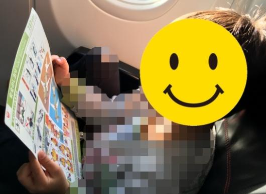 幼児(5歳と2歳)を連れた沖縄旅行のJAL機内のしおりを読む子供