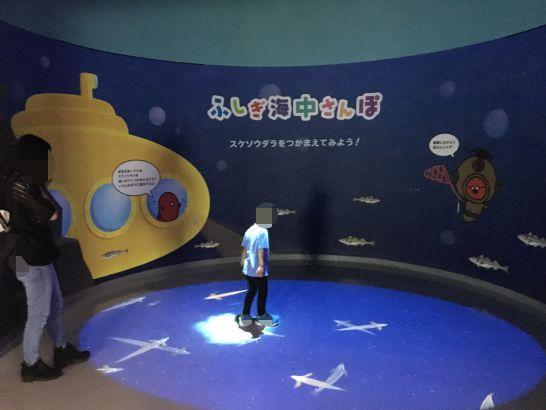 めんたいぱーくとこなめのめんたいミュージアム内のスケソウダラを捕まえる投影型ゲーム