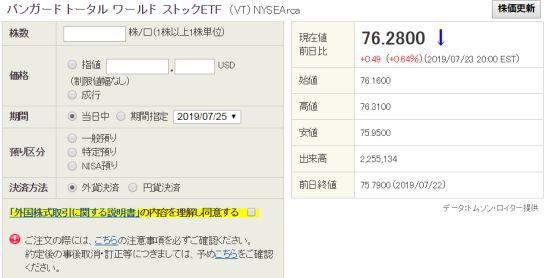SBI証券の外貨建商品取引サイトのETF買付ページ