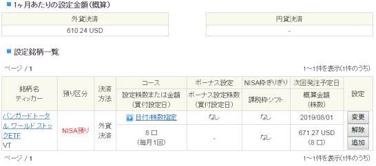 SBI証券の外貨建商品取引サイトのETFの定期買付の設定一覧