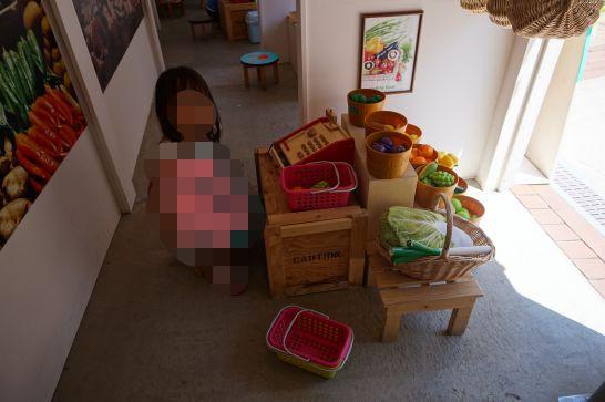 白い恋人パークのガリバータウン内のお店の野菜とレジ