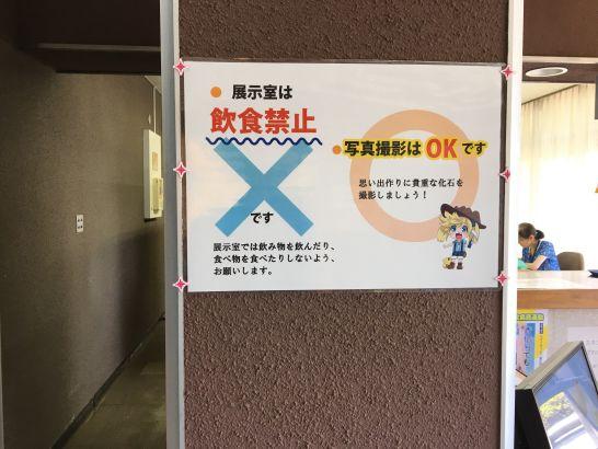 瑞浪市化石博物館の化石博物館展示室の注意事項