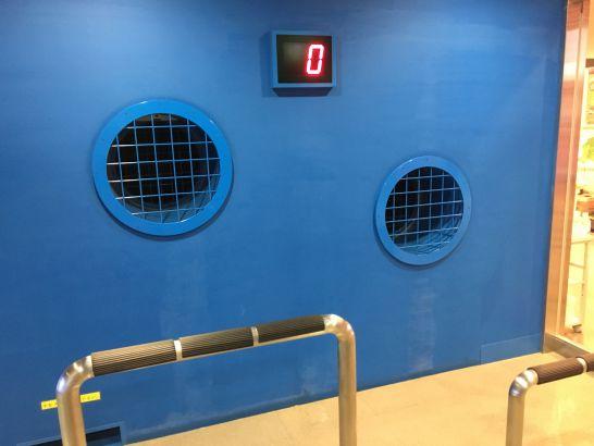 豊田市防災学習センターの暴風体験の風速表示
