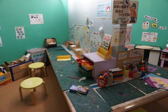ドリームシアター岐阜の5階子どもエリアの工作コーナー