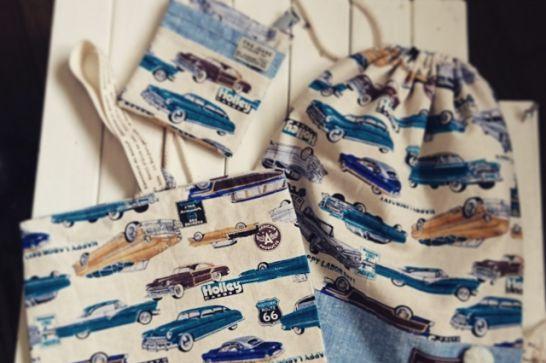 布製の袋(コップ、上履き、着替え、お弁当、ティッシュ)