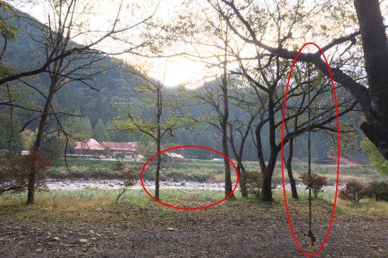板取川温泉オートキャンプ場のハンモックやブランコ