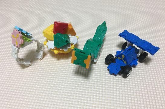 LaQ(ラキュー)の『お花のブレスレット』、『フルーツタルト』、『ブラキオサウルス』、『ミニレースカー』