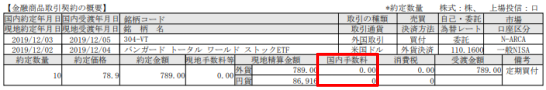 SBI証券からの外国株式等取引報告書
