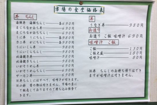 水口寿志亭市場の食堂のメニュー