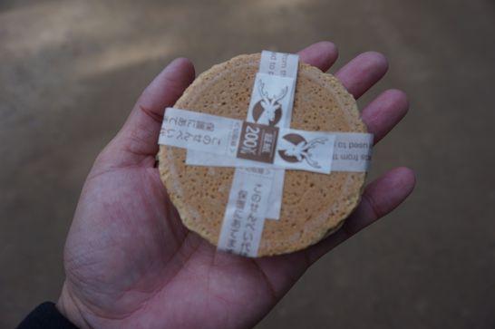 奈良公園の鹿せんべい