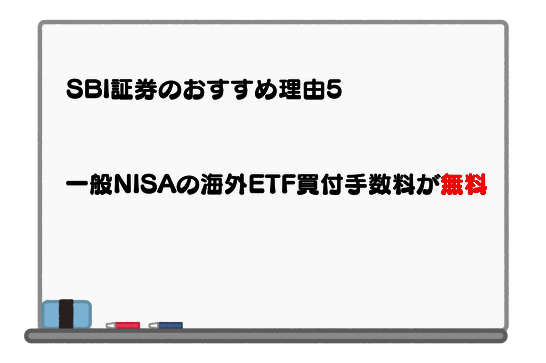 SBI証券のおすすめ理由5.一般NISAにおける海外ETFの買付手数料が無料