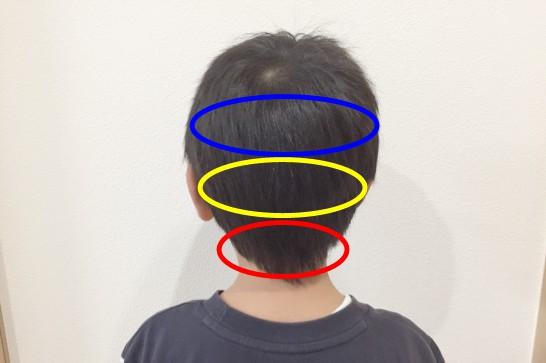 Panasonicのカットモードの使用例:使用前(後髪)