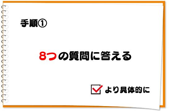 手順①:8つの質問に対する答えを具体的に埋める